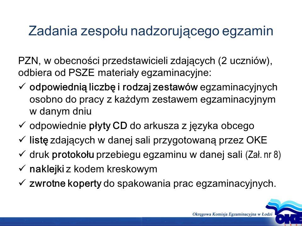 Zadania zespołu nadzorującego egzamin PZN, w obecności przedstawicieli zdających (2 uczniów), odbiera od PSZE materiały egzaminacyjne: odpowiednią liczbę i rodzaj zestawów egzaminacyjnych osobno do pracy z każdym zestawem egzaminacyjnym w danym dniu odpowiednie płyty CD do arkusza z języka obcego listę zdających w danej sali przygotowaną przez OKE druk protokołu przebiegu egzaminu w danej sali (Zał.