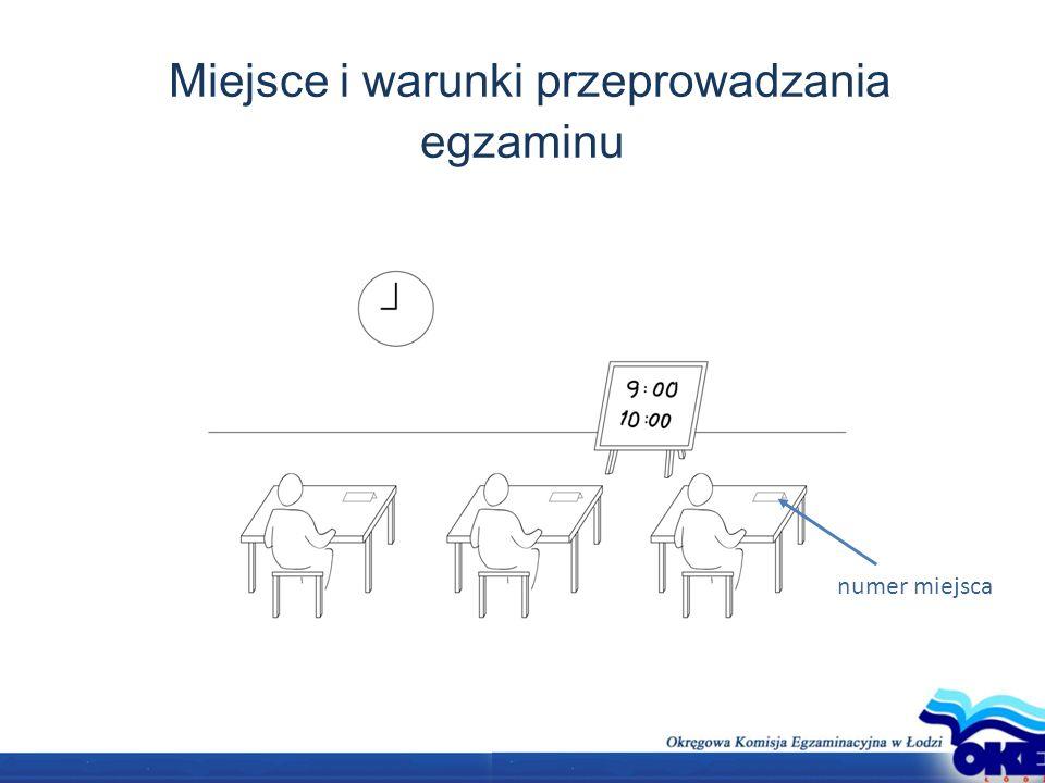 Miejsce i warunki przeprowadzania egzaminu numer miejsca