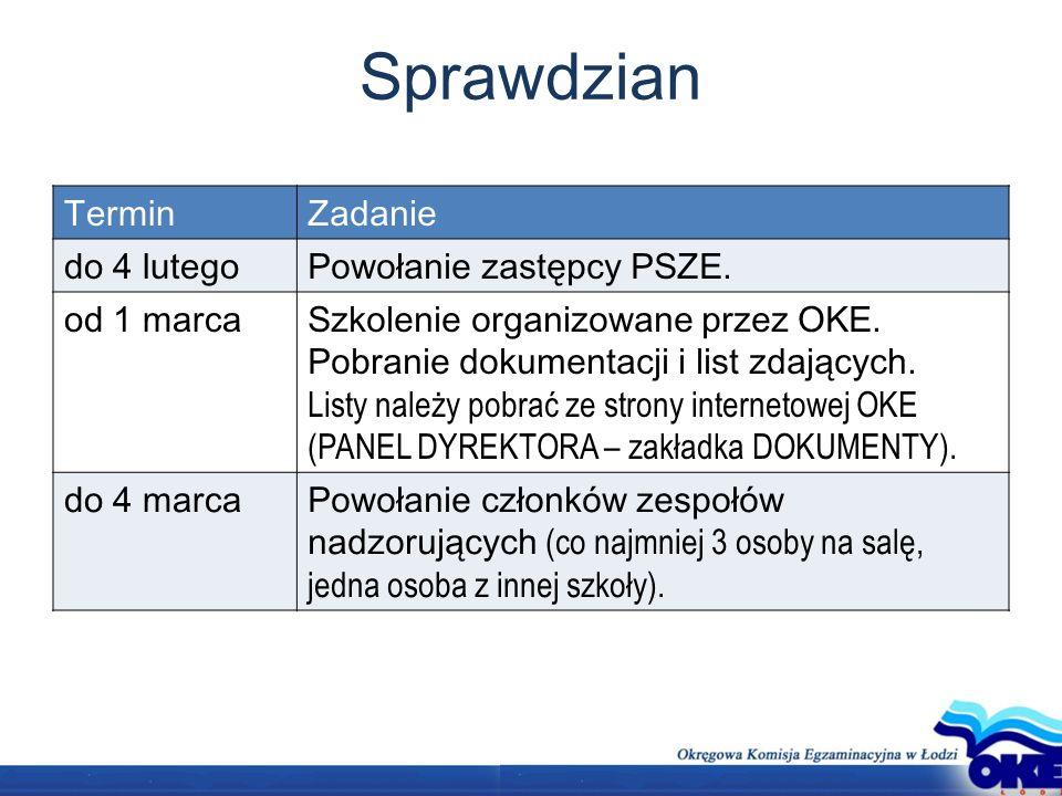 Sprawdzian TerminZadanie do 4 lutegoPowołanie zastępcy PSZE.