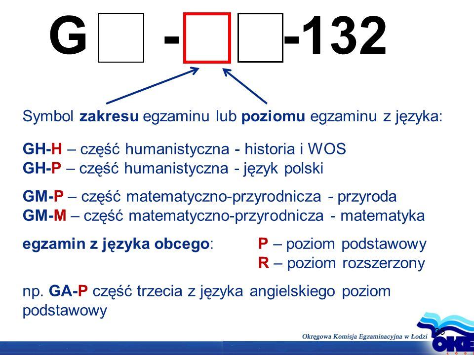 35 G - -132 Symbol zakresu egzaminu lub poziomu egzaminu z języka: GH-H – część humanistyczna - historia i WOS GH-P – część humanistyczna - język polski GM-P – część matematyczno-przyrodnicza - przyroda GM-M – część matematyczno-przyrodnicza - matematyka egzamin z języka obcego: P – poziom podstawowy R – poziom rozszerzony np.