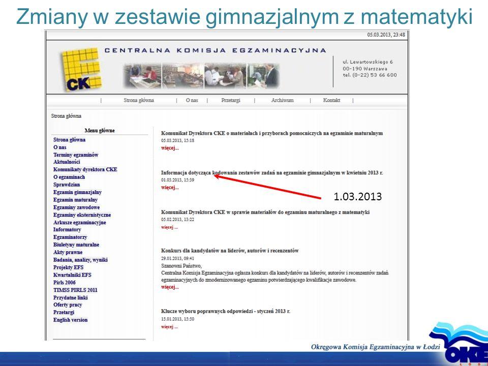 Zmiany w zestawie gimnazjalnym z matematyki 1.03.2013