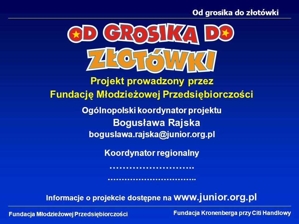 Od grosika do złotówki Fundacja Młodzieżowej Przedsiębiorczości Fundacja Kronenberga przy Citi Handlowy Projekt prowadzony przez Fundację Młodzieżowej