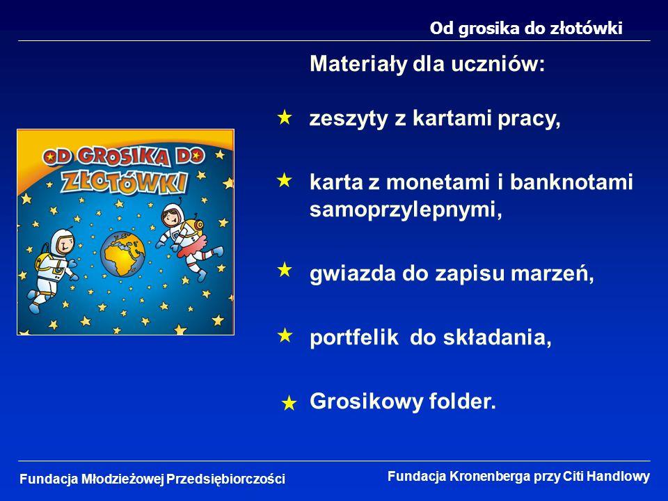 Od grosika do złotówki Fundacja Młodzieżowej Przedsiębiorczości Fundacja Kronenberga przy Citi Handlowy Materiały dla uczniów: zeszyty z kartami pracy
