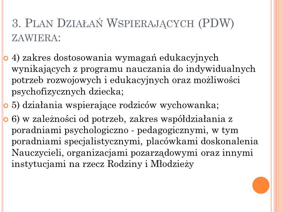 3. P LAN D ZIAŁAŃ W SPIERAJĄCYCH (PDW) ZAWIERA : 1) cele do osiągnięcia w zakresie, w którym wymagana jest pomoc psychologiczno - pedagogiczna; 2) dzi