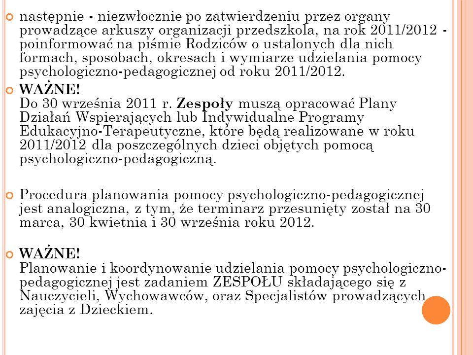 D YREKTOR : Dyrektor, od 1 września 2011 roku, ma obowiązek: zapoznać Radę Pedagogiczną ze zmianami w zakresie pomocy psychologiczno-pedagogicznej, opracować procedurę organizacji ZESPOŁU planującego i koordynującego udzielanie pomocy psychologiczno-pedagogicznej dziecku do 31 marca 2011 r.