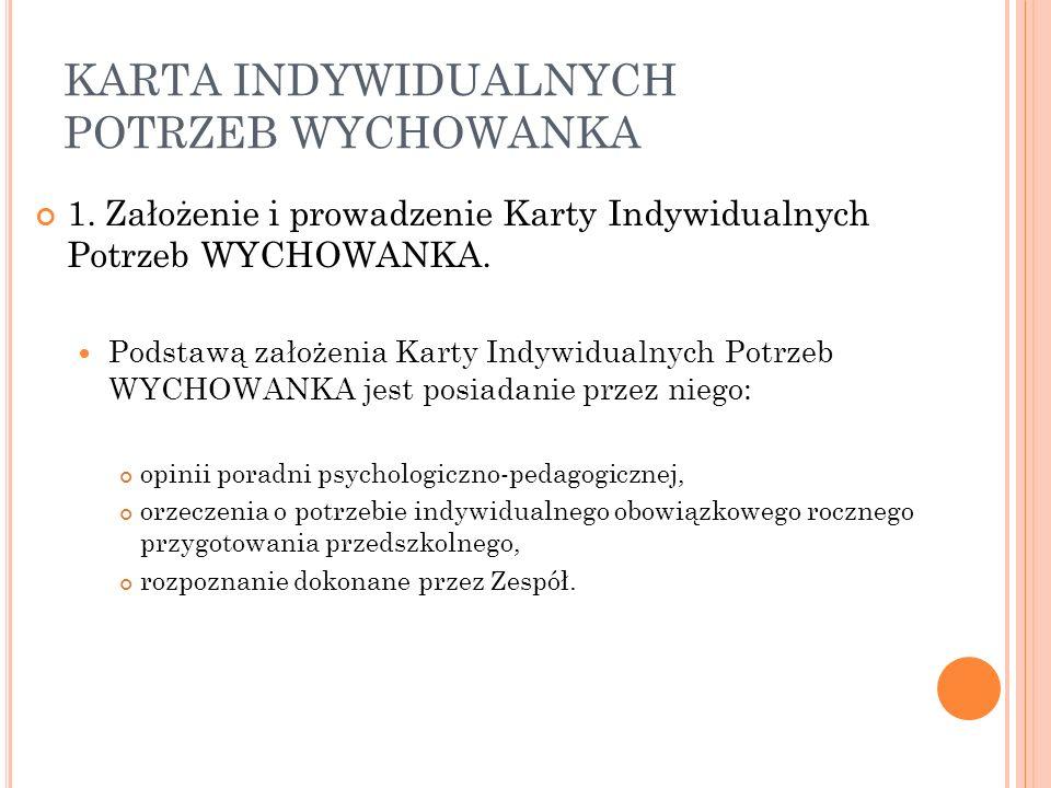 KARTA INDYWIDUALNYCH POTRZEB WYCHOWANKA 1.