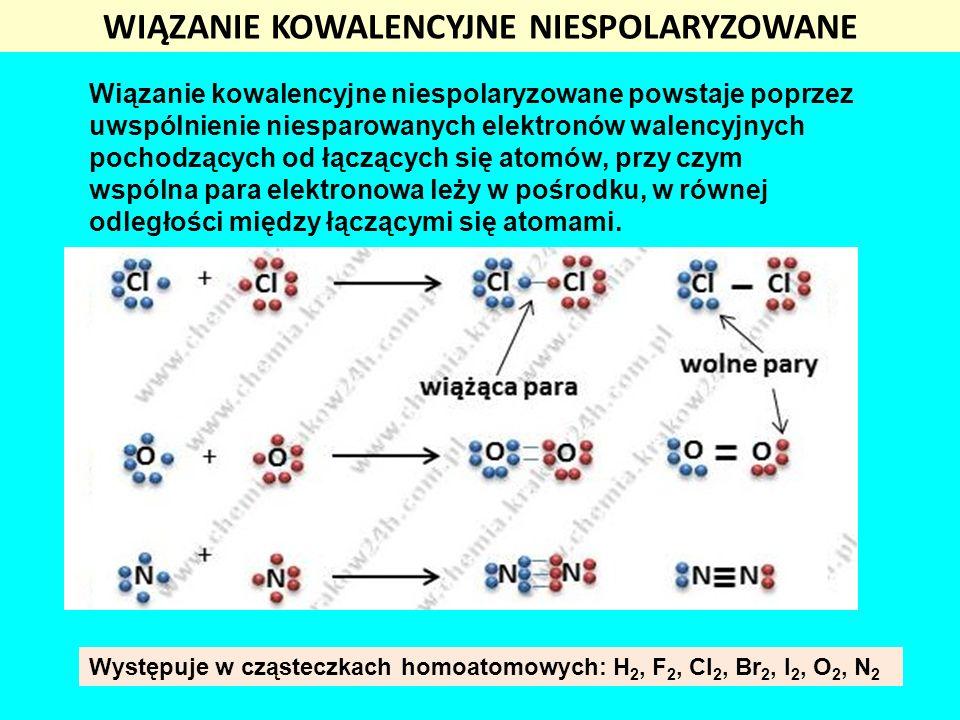 WIĄZANIE KOWALENCYJNE NIESPOLARYZOWANE Wiązanie kowalencyjne niespolaryzowane powstaje poprzez uwspólnienie niesparowanych elektronów walencyjnych poc