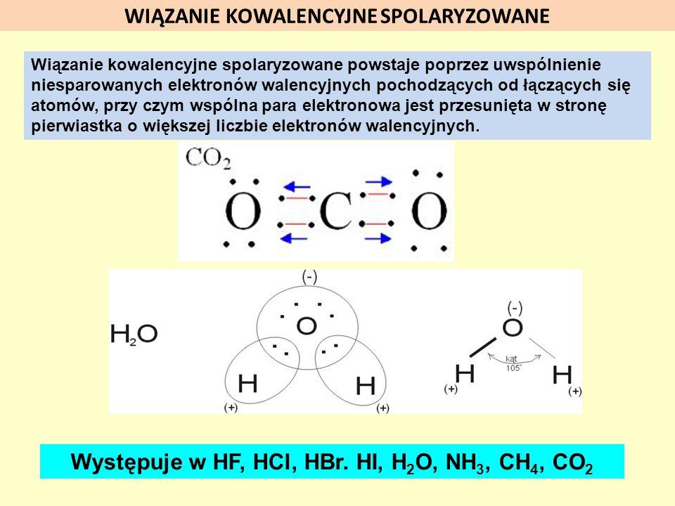 WIĄZANIE KOWALENCYJNE SPOLARYZOWANE Wiązanie kowalencyjne spolaryzowane powstaje poprzez uwspólnienie niesparowanych elektronów walencyjnych pochodząc