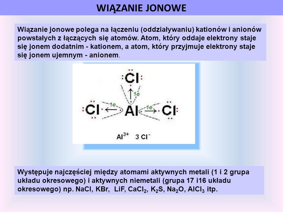 WIĄZANIE JONOWE Wiązanie jonowe polega na łączeniu (oddziaływaniu) kationów i anionów powstałych z łączących się atomów. Atom, który oddaje elektrony