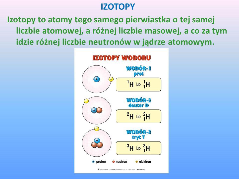 IZOTOPY Izotopy to atomy tego samego pierwiastka o tej samej liczbie atomowej, a różnej liczbie masowej, a co za tym idzie różnej liczbie neutronów w