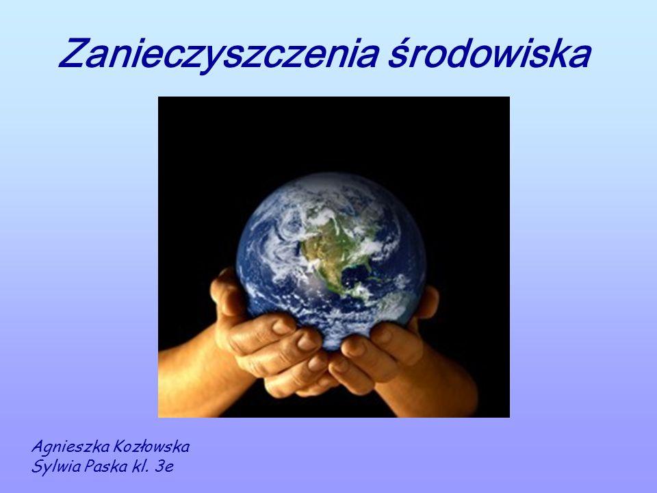 Zanieczyszczenia środowiska Agnieszka Kozłowska Sylwia Paska kl. 3e