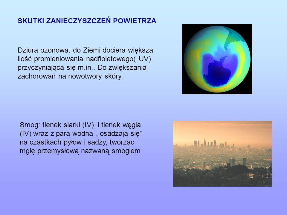 SKUTKI ZANIECZYSZCZEŃ POWIETRZA Dziura ozonowa: do Ziemi dociera większa ilość promieniowania nadfioletowego( UV), przyczyniająca się m.in.. Do zwięks