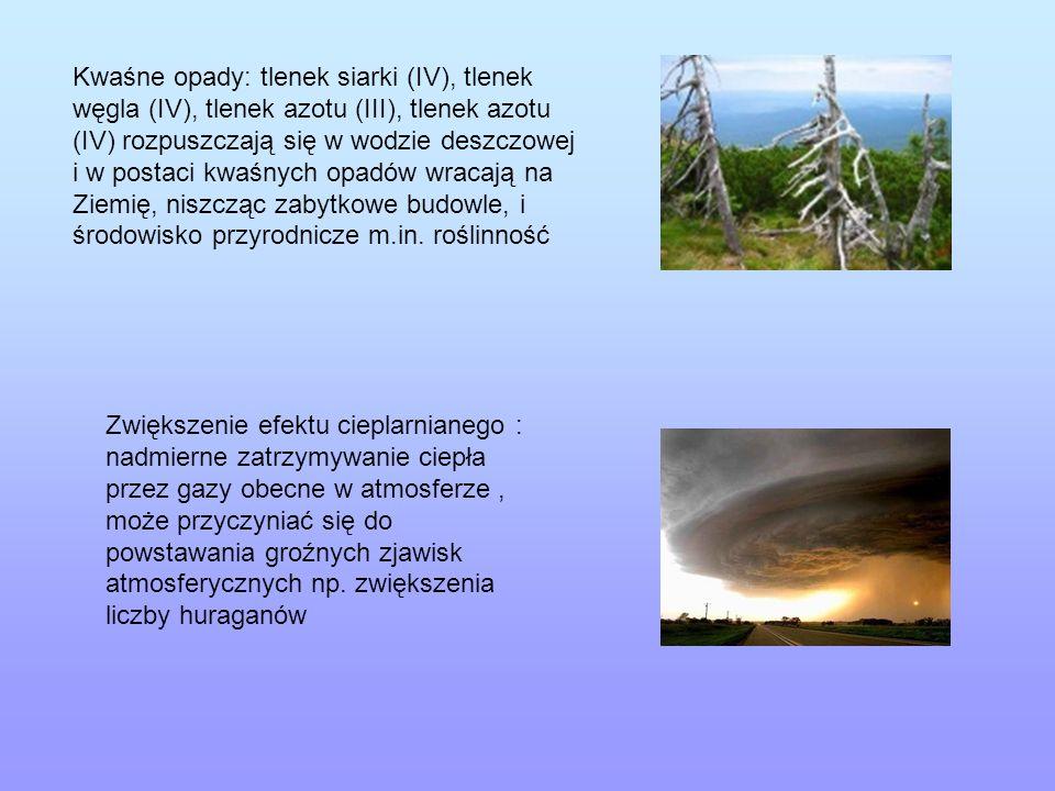 Kwaśne opady: tlenek siarki (IV), tlenek węgla (IV), tlenek azotu (III), tlenek azotu (IV) rozpuszczają się w wodzie deszczowej i w postaci kwaśnych o