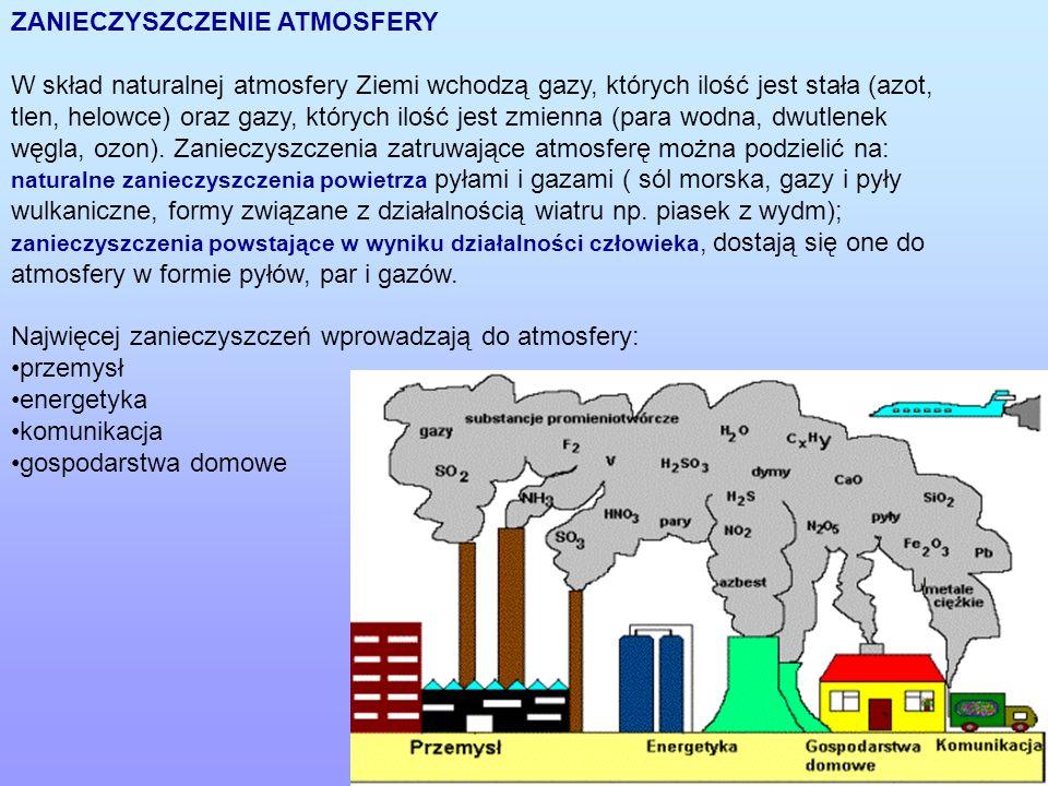 ZANIECZYSZCZENIE ATMOSFERY W skład naturalnej atmosfery Ziemi wchodzą gazy, których ilość jest stała (azot, tlen, helowce) oraz gazy, których ilość je