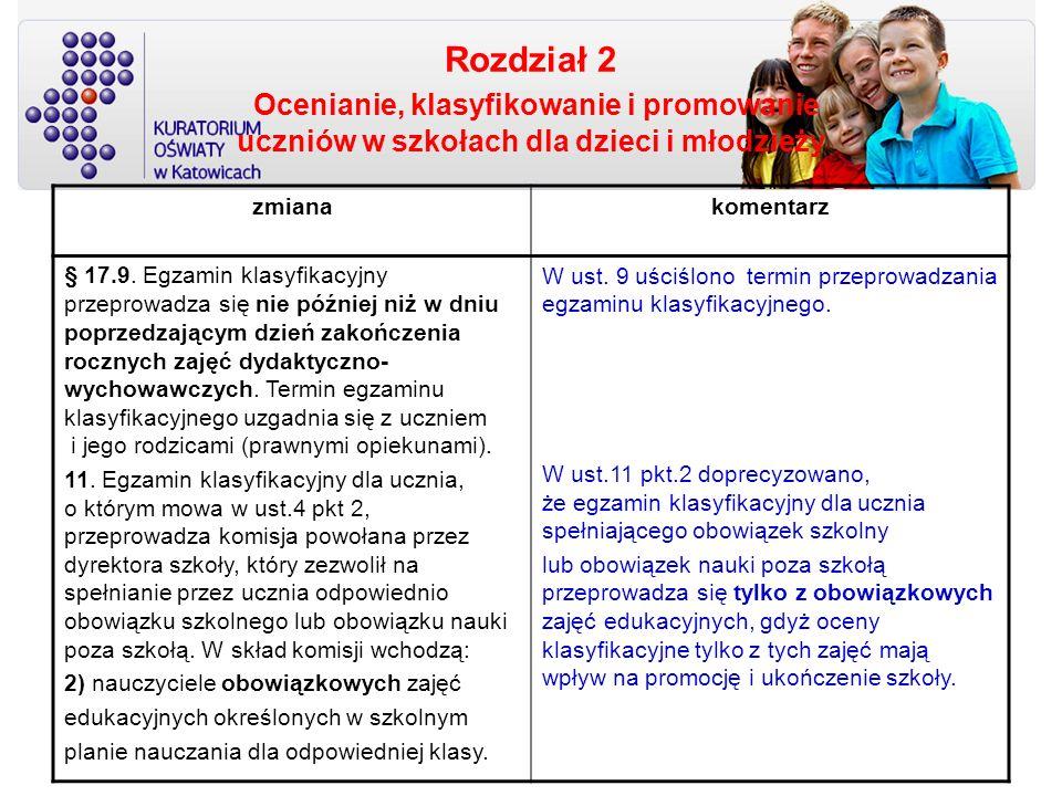 Rozdział 2 Ocenianie, klasyfikowanie i promowanie uczniów w szkołach dla dzieci i młodzieży zmianakomentarz § 17.9. Egzamin klasyfikacyjny przeprowadz