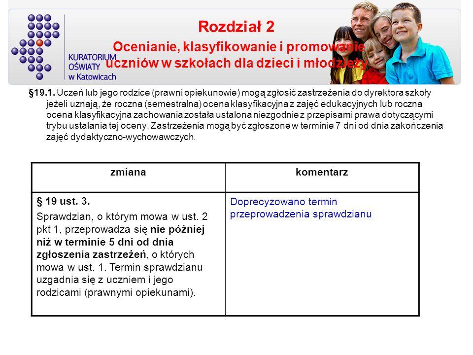 Rozdział 2 Ocenianie, klasyfikowanie i promowanie uczniów w szkołach dla dzieci i młodzieży §19.1. Uczeń lub jego rodzice (prawni opiekunowie) mogą zg
