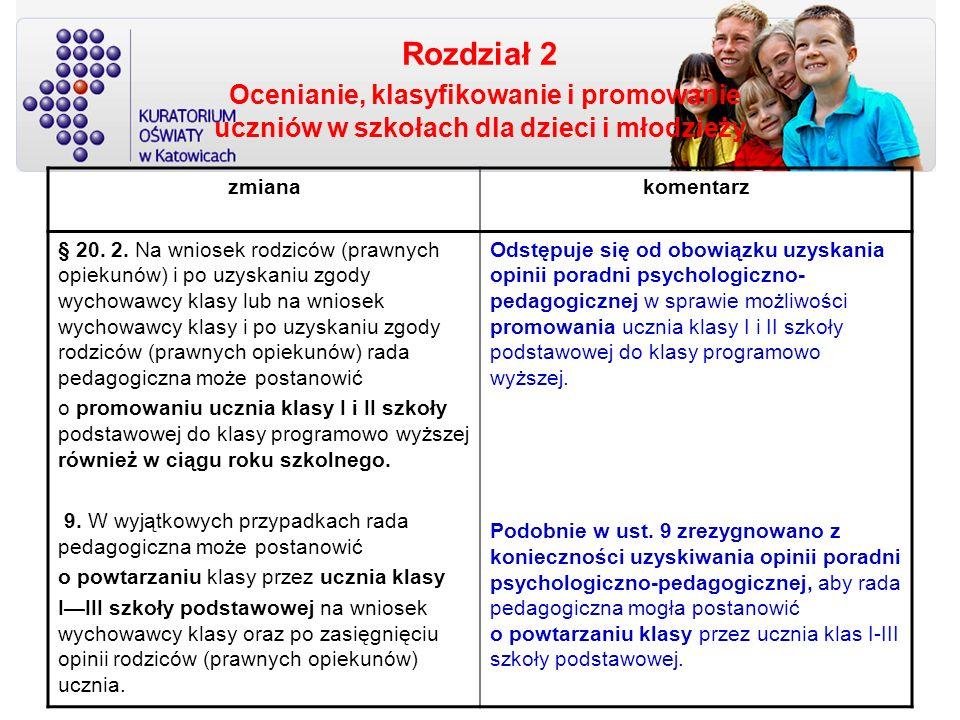 Rozdział 2 Ocenianie, klasyfikowanie i promowanie uczniów w szkołach dla dzieci i młodzieży zmianakomentarz § 20. 2. Na wniosek rodziców (prawnych opi