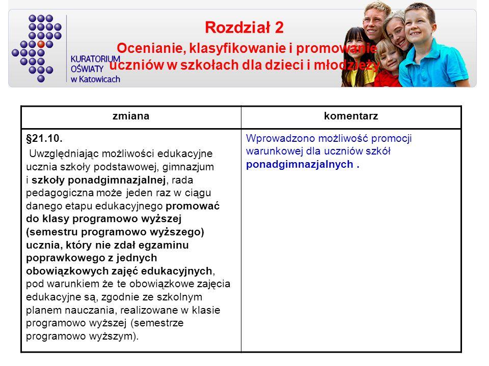 Rozdział 2 Ocenianie, klasyfikowanie i promowanie uczniów w szkołach dla dzieci i młodzieży zmianakomentarz §21.10. Uwzględniając możliwości edukacyjn