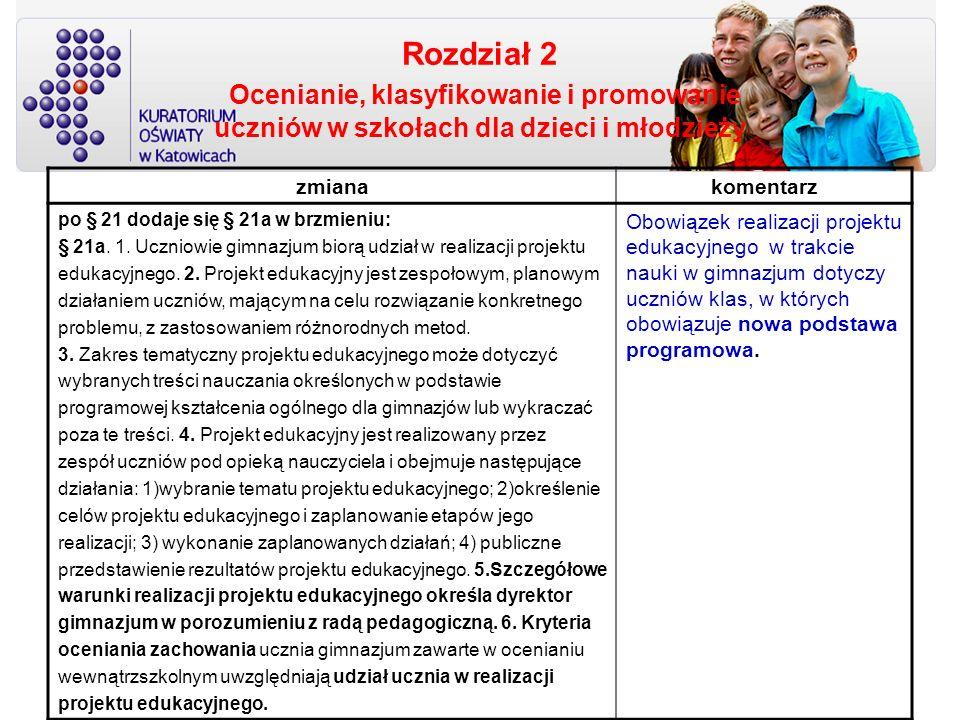 Rozdział 2 Ocenianie, klasyfikowanie i promowanie uczniów w szkołach dla dzieci i młodzieży zmianakomentarz po § 21 dodaje się § 21a w brzmieniu: § 21