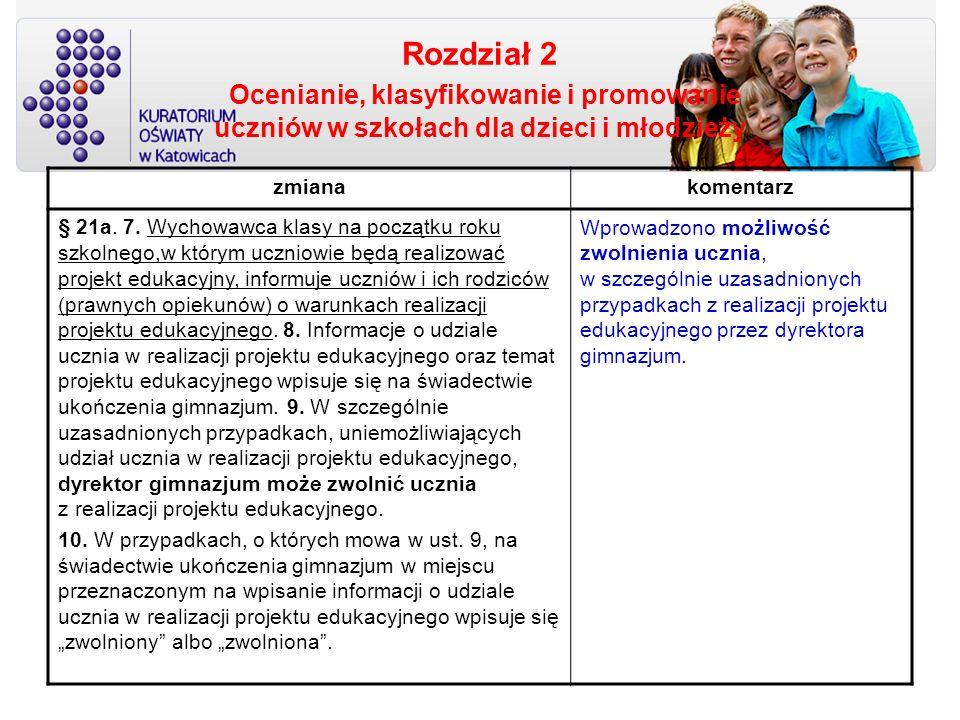Rozdział 2 Ocenianie, klasyfikowanie i promowanie uczniów w szkołach dla dzieci i młodzieży zmianakomentarz § 21a. 7. Wychowawca klasy na początku rok