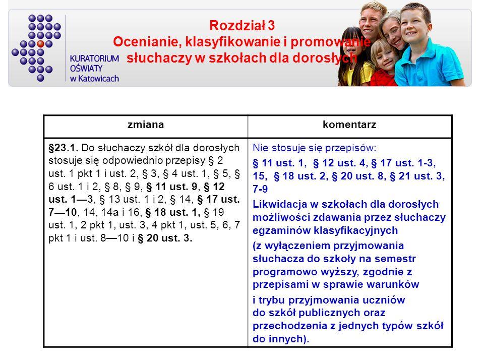 Rozdział 3 Ocenianie, klasyfikowanie i promowanie słuchaczy w szkołach dla dorosłych zmianakomentarz §23.1. Do słuchaczy szkół dla dorosłych stosuje s