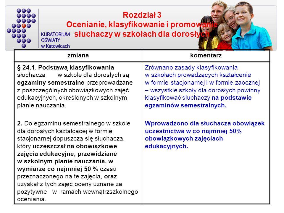 Rozdział 3 Ocenianie, klasyfikowanie i promowanie słuchaczy w szkołach dla dorosłych zmianakomentarz § 24.1. Podstawą klasyfikowania słuchacza w szkol
