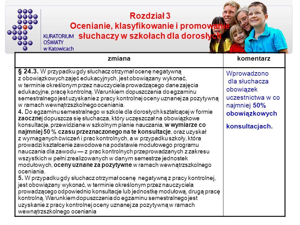Rozdział 3 Ocenianie, klasyfikowanie i promowanie słuchaczy w szkołach dla dorosłych zmianakomentarz § 24.3. W przypadku gdy słuchacz otrzymał ocenę n