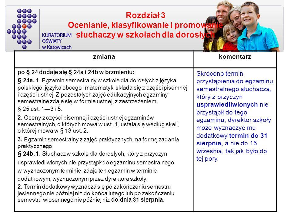 Rozdział 3 Ocenianie, klasyfikowanie i promowanie słuchaczy w szkołach dla dorosłych zmianakomentarz po § 24 dodaje się § 24a i 24b w brzmieniu: § 24a