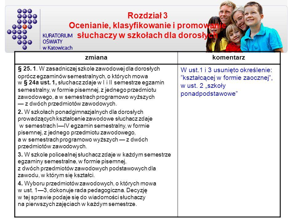 Rozdział 3 Ocenianie, klasyfikowanie i promowanie słuchaczy w szkołach dla dorosłych zmianakomentarz § 25. 1. W zasadniczej szkole zawodowej dla doros