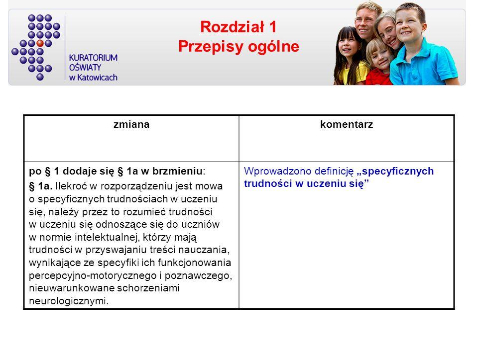 Rozdział 2 Ocenianie, klasyfikowanie i promowanie uczniów w szkołach dla dzieci i młodzieży § 6, § 11, § 23 zmiany dotyczą uczniów ze specyficznymi trudnościami w uczeniu się