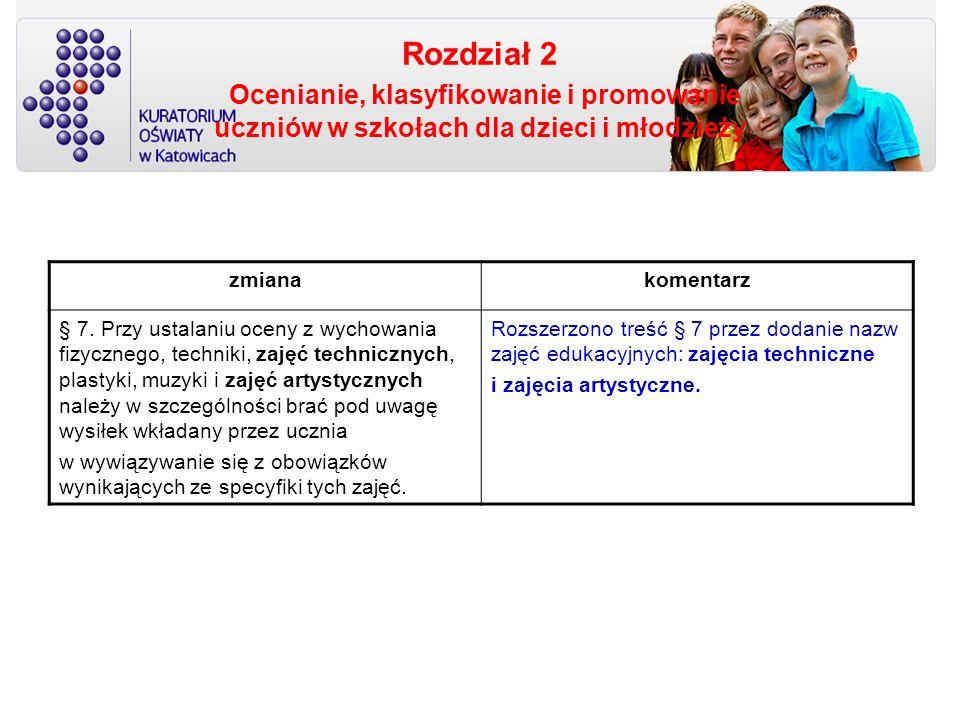 Rozdział 2 Ocenianie, klasyfikowanie i promowanie uczniów w szkołach dla dzieci i młodzieży zmianakomentarz § 7. Przy ustalaniu oceny z wychowania fiz