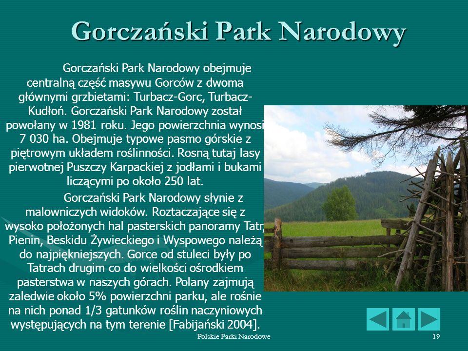 Polskie Parki Narodowe19 Gorczański Park Narodowy Gorczański Park Narodowy obejmuje centralną część masywu Gorców z dwoma głównymi grzbietami: Turbacz