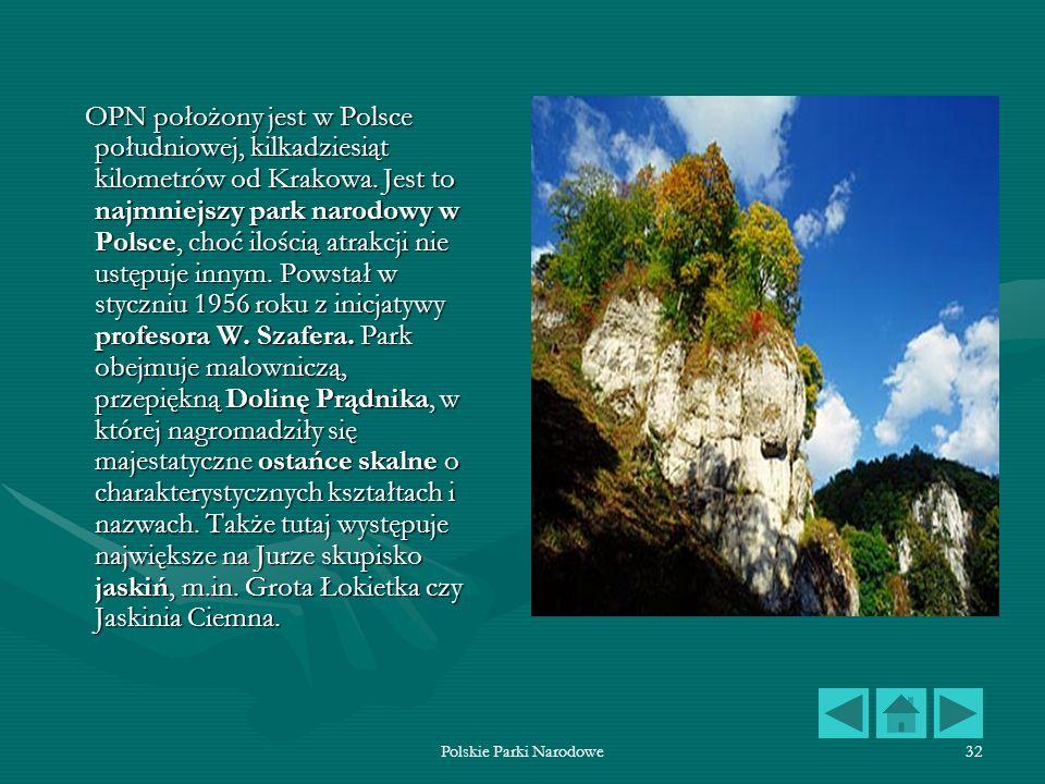 Polskie Parki Narodowe32 OPN położony jest w Polsce południowej, kilkadziesiąt kilometrów od Krakowa. Jest to najmniejszy park narodowy w Polsce, choć