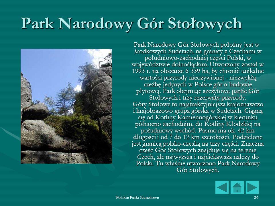 Polskie Parki Narodowe36 Park Narodowy Gór Stołowych Park Narodowy Gór Stołowych położny jest w środkowych Sudetach, na granicy z Czechami w południow