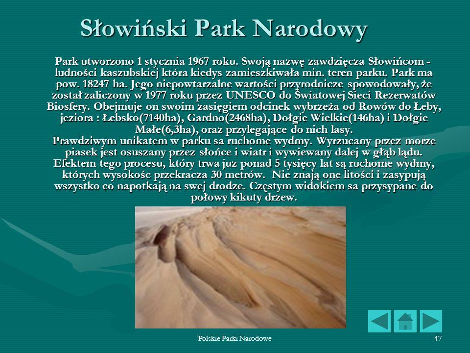 Polskie Parki Narodowe47 Słowiński Park Narodowy Park utworzono 1 stycznia 1967 roku. Swoją nazwę zawdzięcza Słowińcom - ludności kaszubskiej która ki