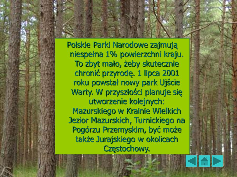Polskie Parki Narodowe59 Polskie Parki Narodowe zajmują niespełna 1% powierzchni kraju. To zbyt mało, żeby skutecznie chronić przyrodę. 1 lipca 2001 r