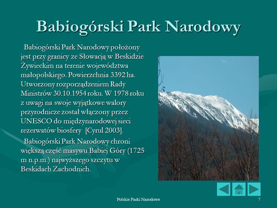 Polskie Parki Narodowe7 Babiogórski Park Narodowy Babiogórski Park Narodowy położony jest przy granicy ze Słowacją w Beskidzie Żywieckim na terenie wo