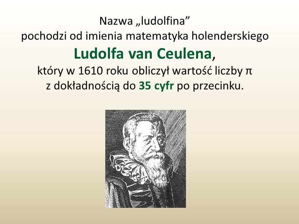 Nazwa ludolfina pochodzi od imienia matematyka holenderskiego Ludolfa van Ceulena, który w 1610 roku obliczył wartość liczby π z dokładnością do 35 cy