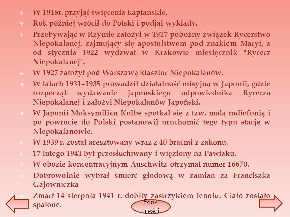 W 1918r. przyjął święcenia kapłańskie. Rok później wrócił do Polski i podjął wykłady. Przebywając w Rzymie założył w 1917 pobożny związek Rycerstwo Ni