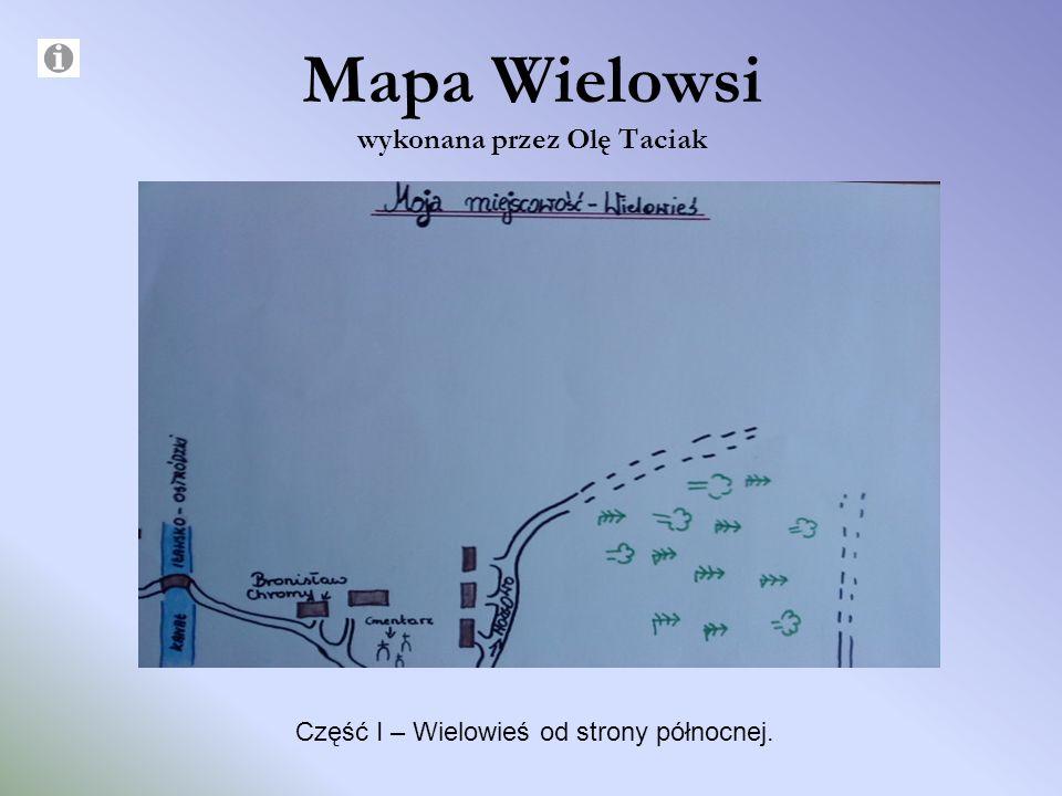 Mapa Wielowsi wykonana przez Olę Taciak Część I – Wielowieś od strony północnej.