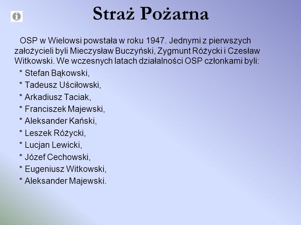 Straż Pożarna OSP w Wielowsi powstała w roku 1947. Jednymi z pierwszych założycieli byli Mieczysław Buczyński, Zygmunt Różycki i Czesław Witkowski. We