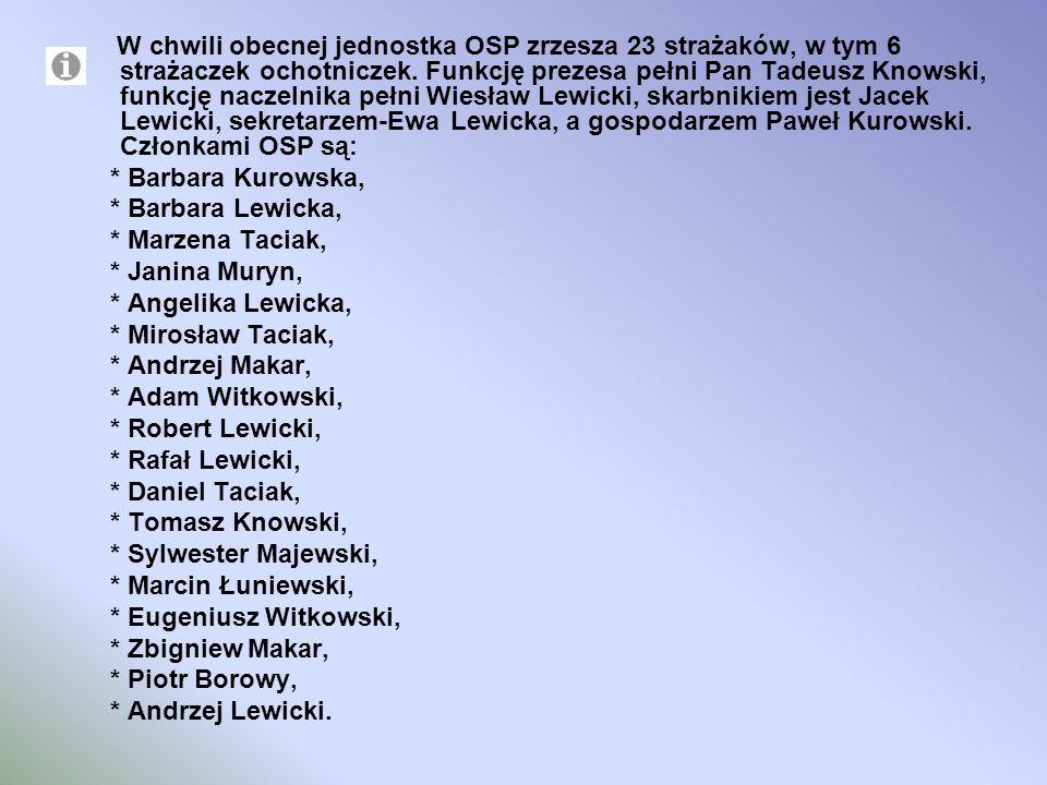 W chwili obecnej jednostka OSP zrzesza 23 strażaków, w tym 6 strażaczek ochotniczek. Funkcję prezesa pełni Pan Tadeusz Knowski, funkcję naczelnika peł