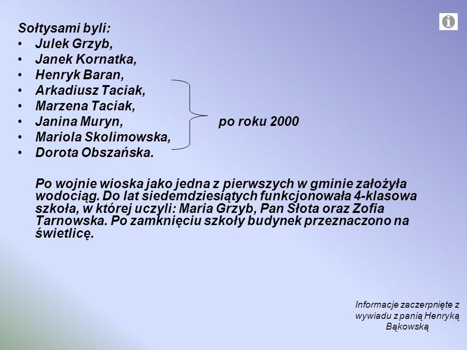 Sołtysami byli: Julek Grzyb, Janek Kornatka, Henryk Baran, Arkadiusz Taciak, Marzena Taciak, Janina Muryn, po roku 2000 Mariola Skolimowska, Dorota Ob