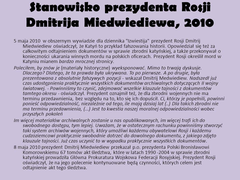 Stanowisko prezydenta Rosji Dmitrija Miedwiediewa, 2010 5 maja 2010 w obszernym wywiadzie dla dziennika
