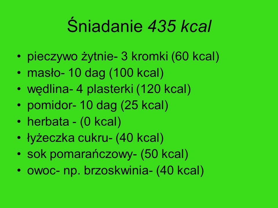 Śniadanie 435 kcal pieczywo żytnie- 3 kromki (60 kcal) masło- 10 dag (100 kcal) wędlina- 4 plasterki (120 kcal) pomidor- 10 dag (25 kcal) herbata - (0