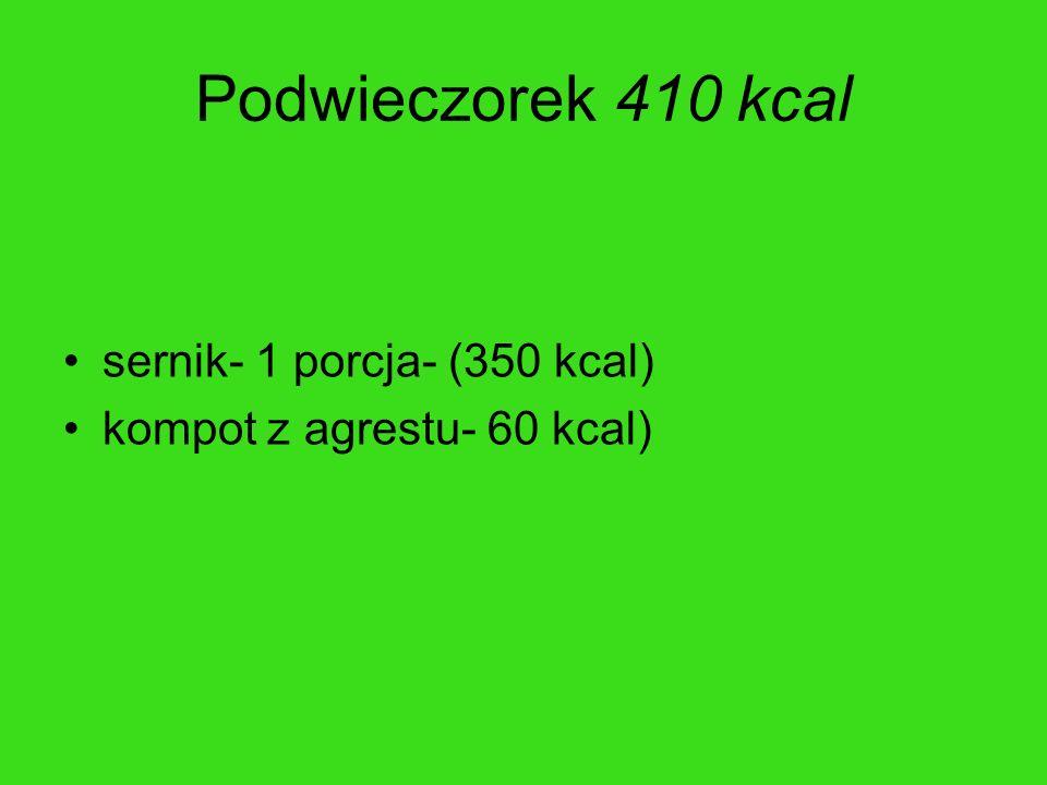 Podwieczorek 410 kcal sernik- 1 porcja- (350 kcal) kompot z agrestu- 60 kcal)