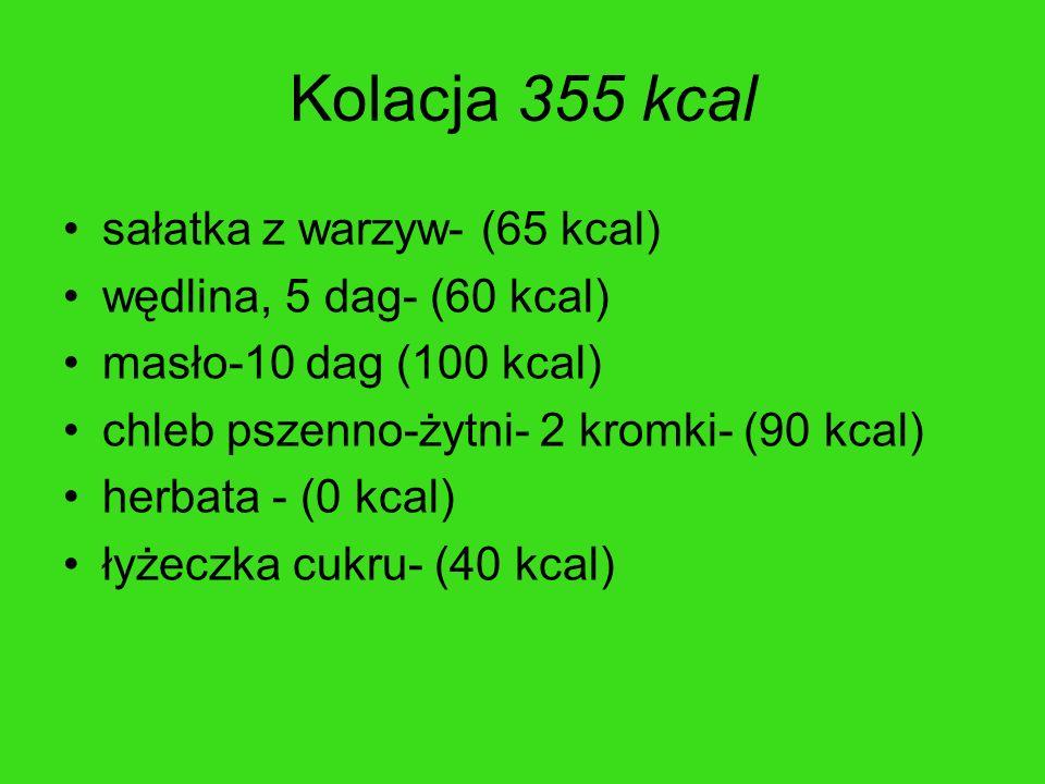 Kolacja 355 kcal sałatka z warzyw- (65 kcal) wędlina, 5 dag- (60 kcal) masło-10 dag (100 kcal) chleb pszenno-żytni- 2 kromki- (90 kcal) herbata - (0 k