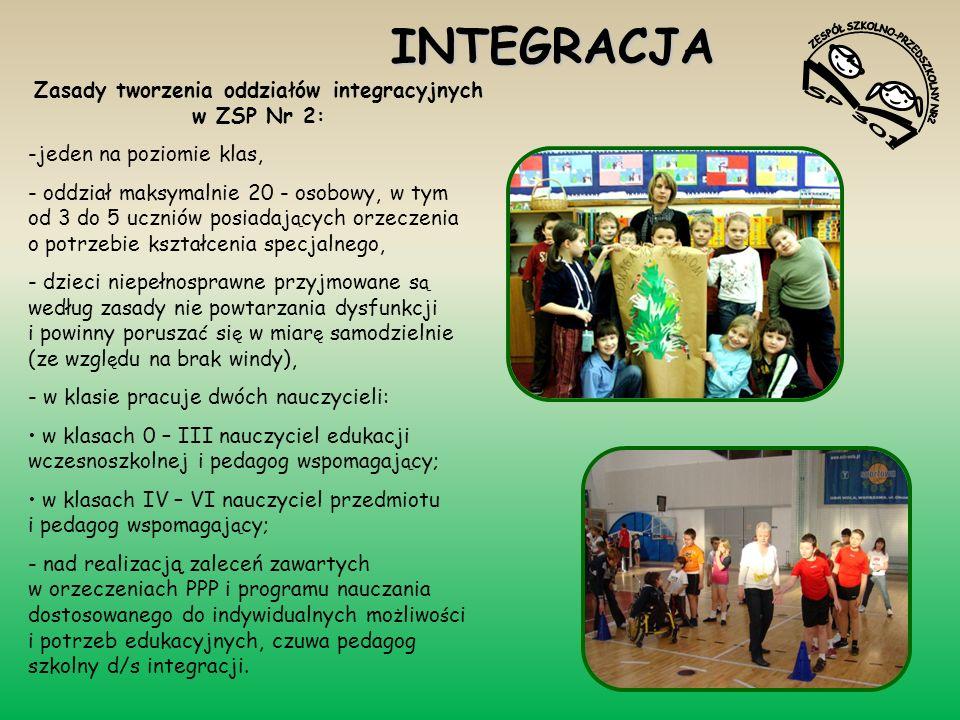 INTEGRACJA Zasady tworzenia oddziałów integracyjnych w ZSP Nr 2: -jeden na poziomie klas, - oddział maksymalnie 20 - osobowy, w tym od 3 do 5 uczniów