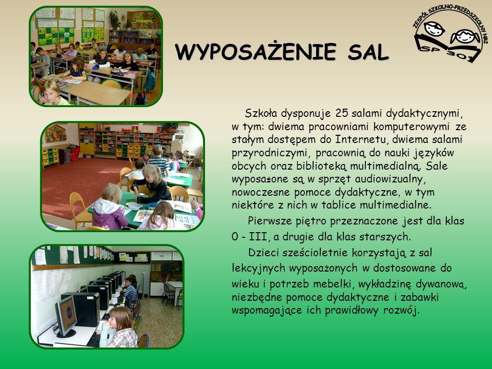 WYPOSAŻENIE SAL Szkoła dysponuje 25 salami dydaktycznymi, w tym: dwiema pracowniami komputerowymi ze stałym dostępem do Internetu, dwiema salami przyrodniczymi, pracownią do nauki języków obcych oraz biblioteką multimedialną.