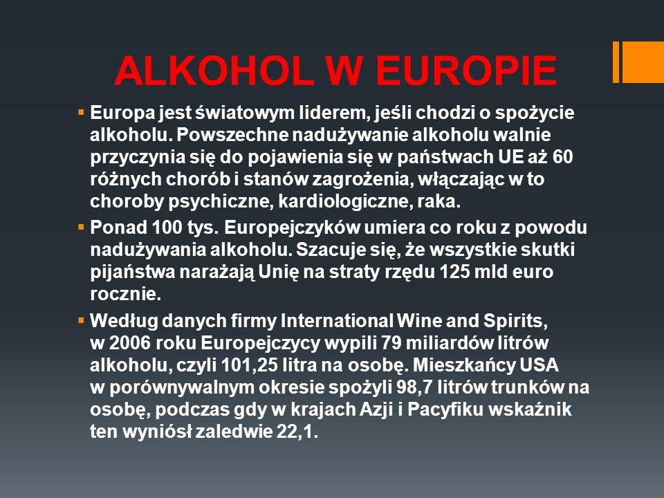 ALKOHOL W EUROPIE Europa jest światowym liderem, jeśli chodzi o spożycie alkoholu. Powszechne nadużywanie alkoholu walnie przyczynia się do pojawienia